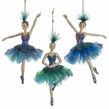 Kurt Adler Set Of 3 Peacock Ballerinas w/FEATHER Headpiece & Tutu Xmas Ornament - $42.88
