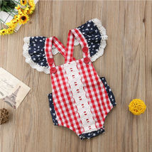 Cute Infant Baby Girls Clothes Fly Sleeve plaid Romper Bodysuit Jumpsuit Outfits image 6