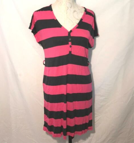 Primary image for Old Navy sz M Stripe Jersey Knit Pink Navy Blue Dress Shift Womens Sheath Cover