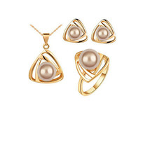 Hot Selling Fashion Simulated Pearl Jewelry Sets Triangle Design Pendant... - $13.72