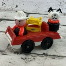 Vintage Fisher Price Little People Mini Firetruck Red Armed Fire Chief Dog - $19.79