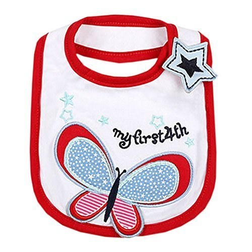 Lovely Butterfly Cool Cotton/PVC Adjustable Waterproof Baby Bib Pocket Bib 612""