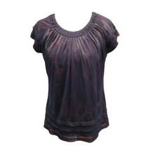 Worthington Womens Black Leopard Print Short Sleeve Layered Casual Top S... - $8.91