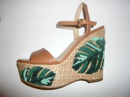 MICHAEL KORS Beige Leather Green Sequins Wedges Sandals, US 9 / UK 7, Brand New - $49.35