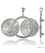 Sterling Silver 36 mm Mexican 1 oz Silver Libertad Coin Frame Bezel Pend... - $44.25