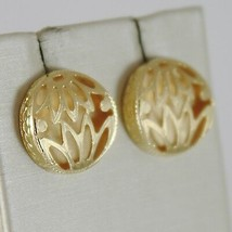 Yellow Gold Earrings 750 18K, Button with Flowers, Satin, Double Wall image 2