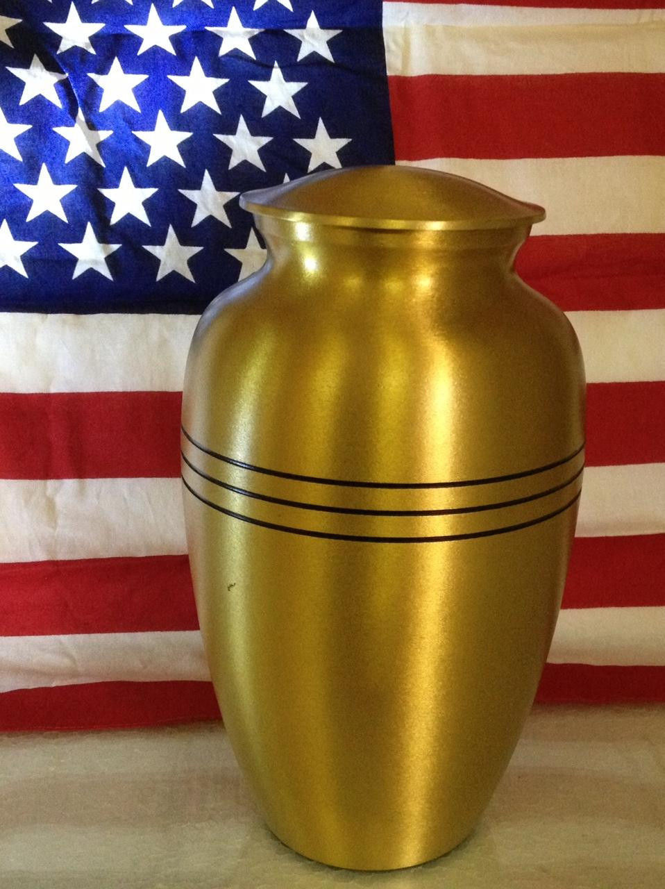 Adult Gold Colored, Brass Funeral Cremation Urn w. Box, Assorted Sizes Available image 3