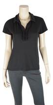 TALBOTS Cotton/Modal Ruffle Trim Polo Shirt Black Size MEDIUM - $12.47