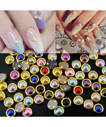 200Pcs 3D Nail Art Glitter Alloy Bling Rhinestone Pearl Charm Tips Decor... - $1.70