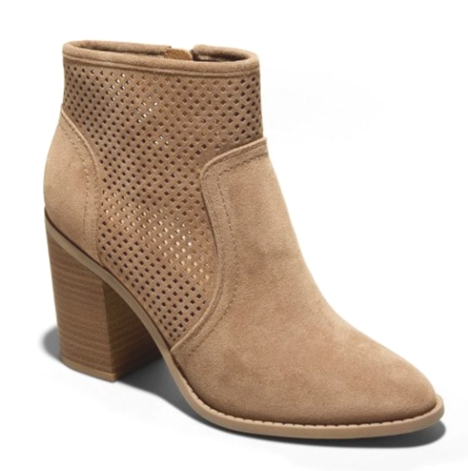 A New Day Taupe Crissy Microsuede Laser-cut Block Heeled Fashion Booties NWT