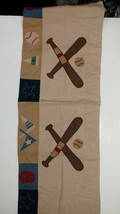 """The Company Store Baseball Valance Boys Kids Brown, Red, Blue 15 3/4"""" x ... - $8.59"""