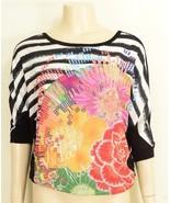 1 Desigual top SZ M black white stripes + colorful front short sleeve se... - $29.69