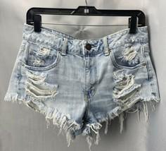 American Eagle Shorts Sz 8 Womens Denim Blue Jean Destroyed Holes Raw He... - $26.99