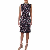 Anne Klein Printed Pleated Sleeveless Midi Dress 12 Fit Flare Eclipse/Ca... - $39.59