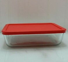 New no box Pyrex Clear Rectangle 6 Cup Dish Microwave Safe Storage red l... - $8.15