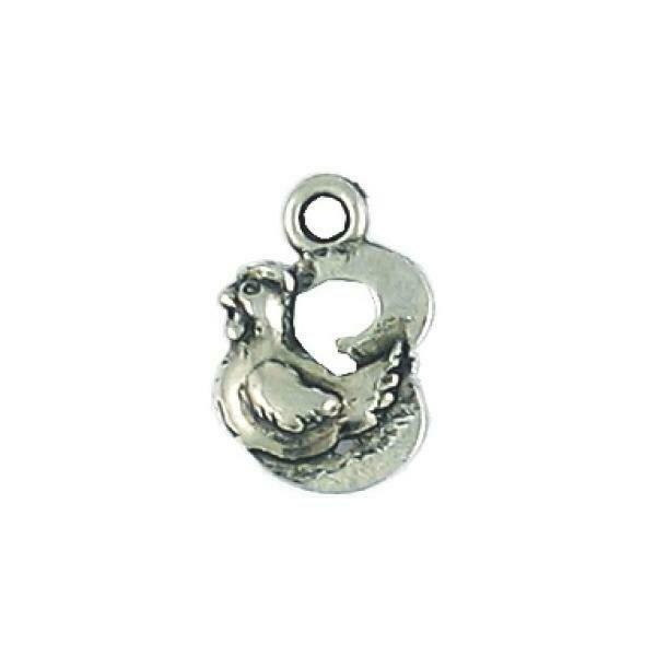 3 French Hen Fine Pewter Charm Pendant - 10mm  X 15mm X 4mm