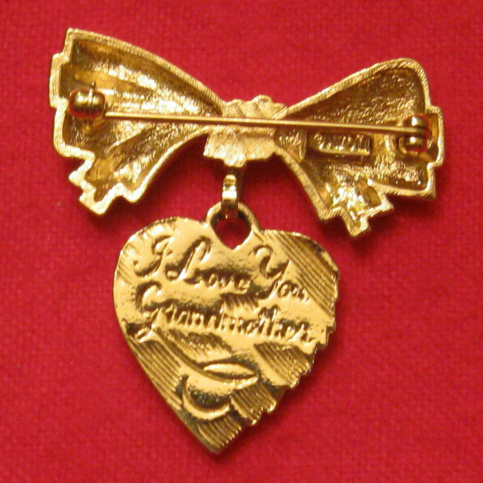 Primary image for Avon Dangle Heart Pin - I Love You Grandmother - Sentimental Ribbon VTG 1980s