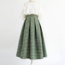 Women Green Houndstooth Midi Skirt A-line Winter Wool Midi Party Skirt Plus Size image 1