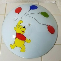 Vintage Winnie the Pooh Walt Disney Ceiling Glass Light Shade Cover 15 in - $21.73