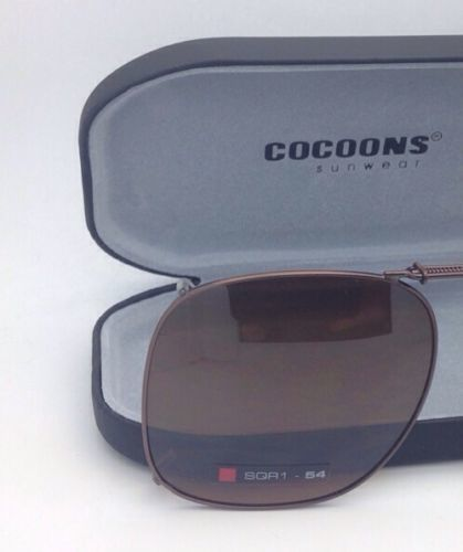 COCOONS Amber Polarized Sunglasses/Eyeglasses Over Rx Clip-on SQR 1-54 Bronze