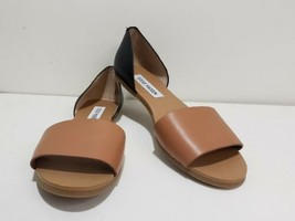 Steve Madden Sandals Camel Black Sidestep Slip-on Flats Size 8 Womens - $24.74