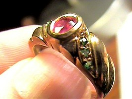 sterling silver 925 ring ruby emerald NATURAL SMALL SOLITAIRE yellow gold 7 - $36.60