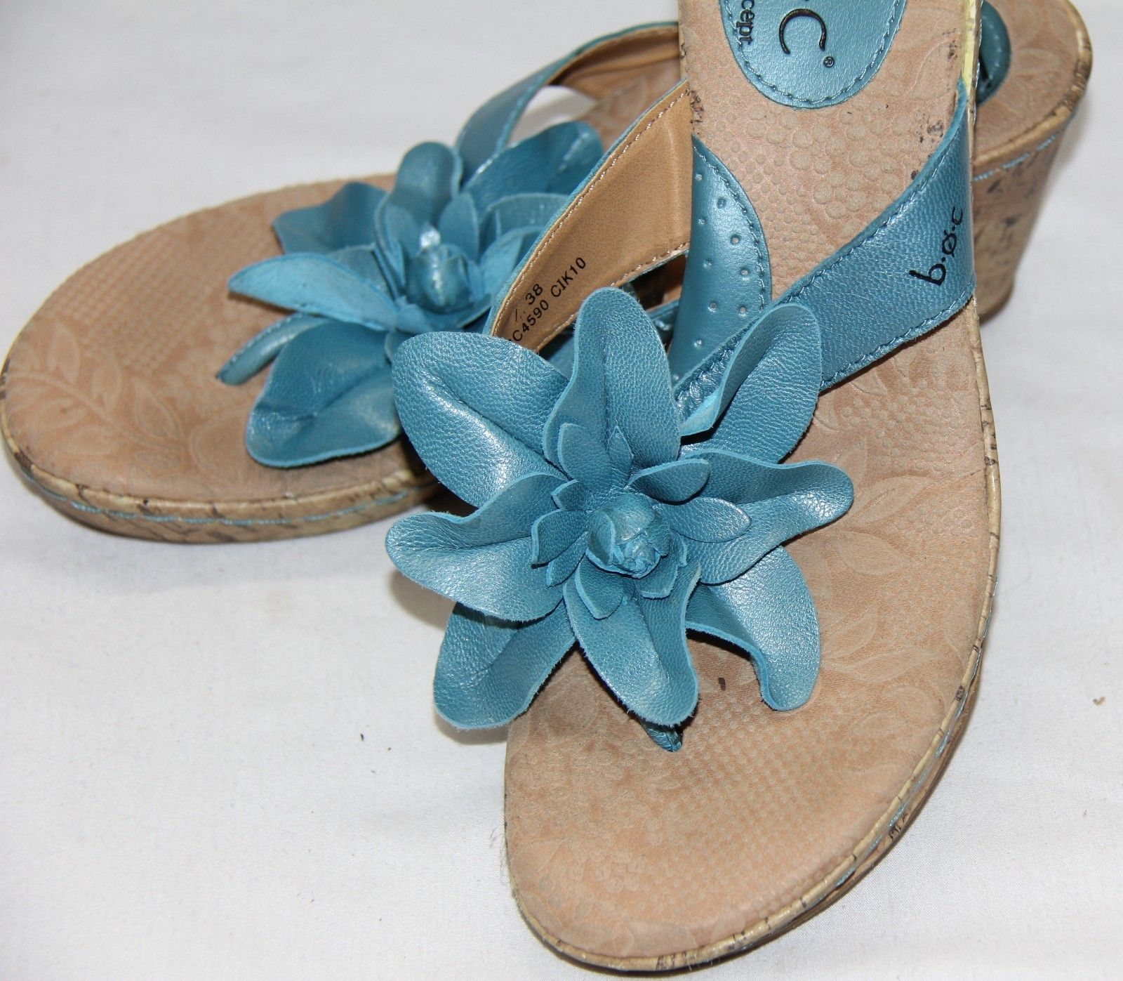 8c0e91e0d27b BOC Born Concept Turquoise Womens Thong Sandals 7 Flower Wedge Heels