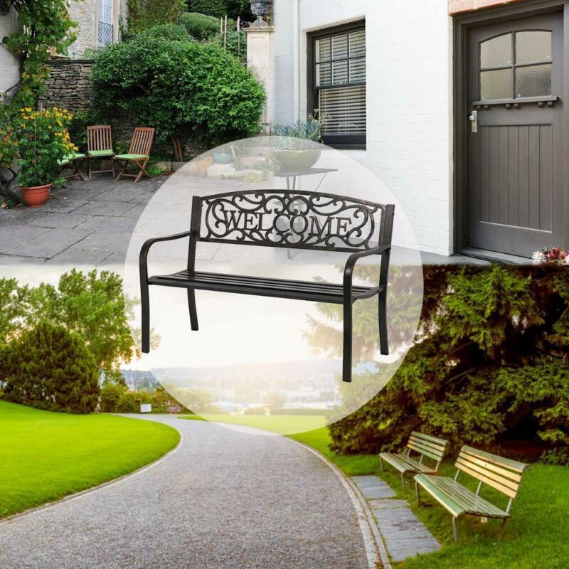 Premium Garden Bench Park Yard Outdoor Furniture Steel Frame Porch Chair Decor