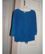 Choices  Blue Button Up Tie At bottom Top Size Small - $12.00