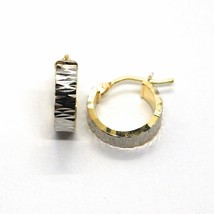 18K GOLD CIRCLE HOOPS HAMMERED WORKED EARRINGS 13 MM, YELLOW & WHITE image 1