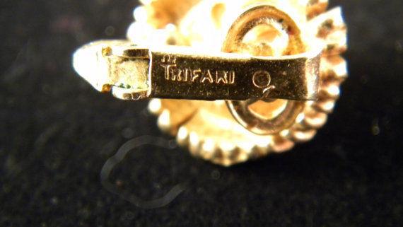 Crown Trifari  Goldtone and Faux Pearl Flower Earrings