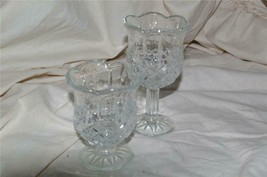 Home Interiors 2 Piece Stemmed Crystal Glass Set Homco - $9.00