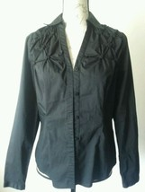 Worthington Stretch  Black long sleeve button down shirt womens size Small  - $9.49