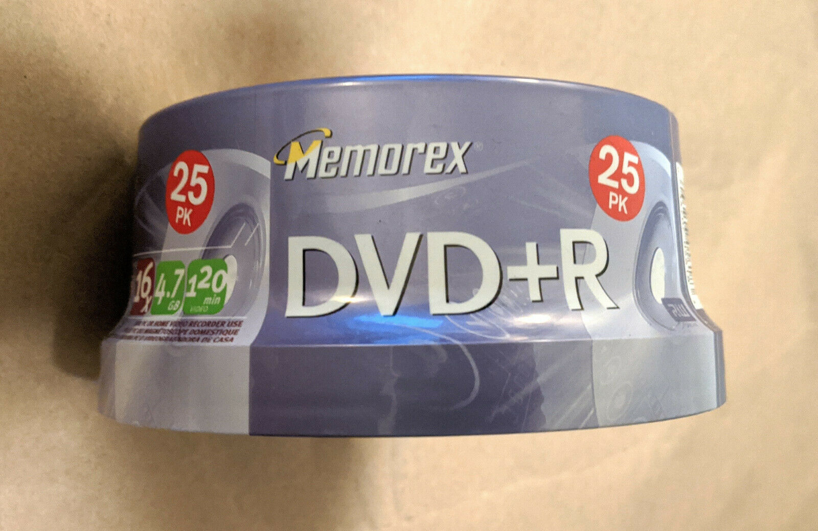 NEW Memorex Blank Recordable DVD+R 16x 4.7GB 120min Video 25 Pack Spindle Sealed - $7.91