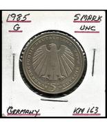 "1985 G, West Germany(FRG): 5 Mark Commemorative ""German Railroad"" Coin - $5.95"