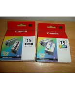 2 Canon BCI-15 Ink Cartridges Black & Color Twin Packs - $24.95