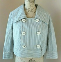 Daughters Of The Liberation Size 4 White Blue Striped Large Button Jacke... - $28.49