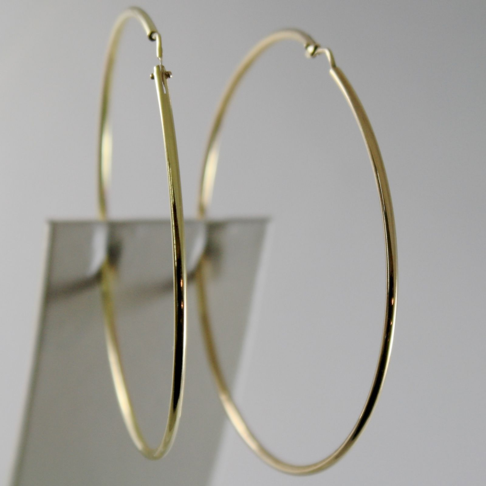 18K YELLOW GOLD EARRINGS BIG CIRCLE HOOP 63 MM 2.48 INCH DIAMETER MADE IN ITALY