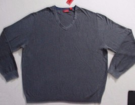 Izod Men Sweater 2XL Gray Solid V Neck Long Sleeves Cotton 1700E - $17.35