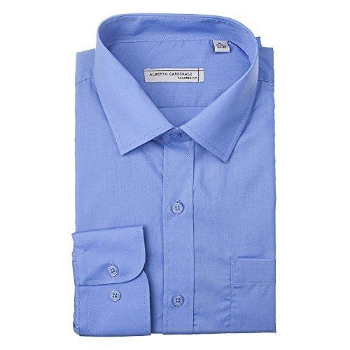 Alberto Cardinali Men's Tailored Fit Long Sleeve Wrinkle Resistant Dress Shirt