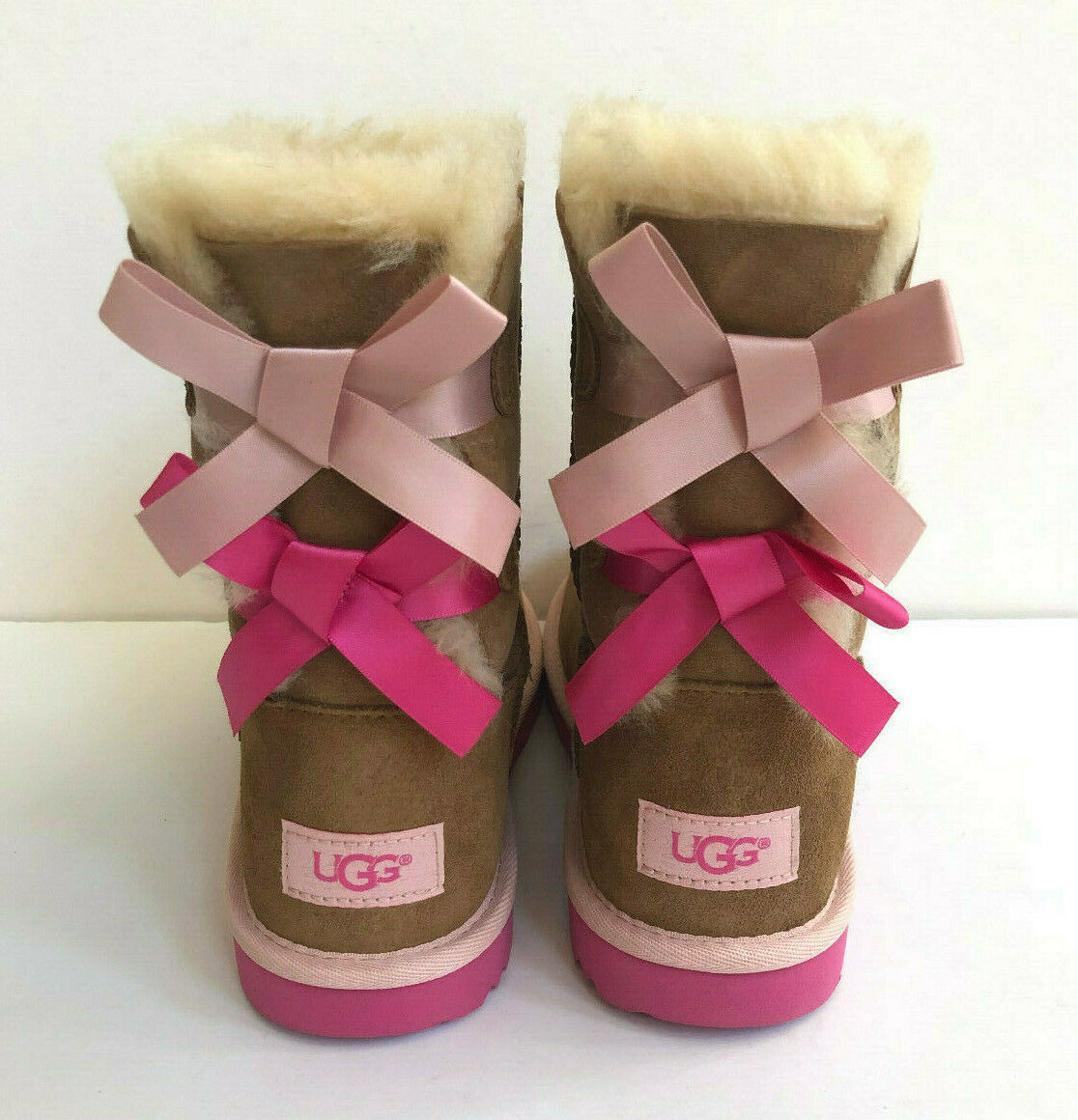 Primary image for UGG BAILEY BOW II CHESTNUT PINK KID/YOUTH US 4 -will fit Women US 6 /EU 37 /UK 4
