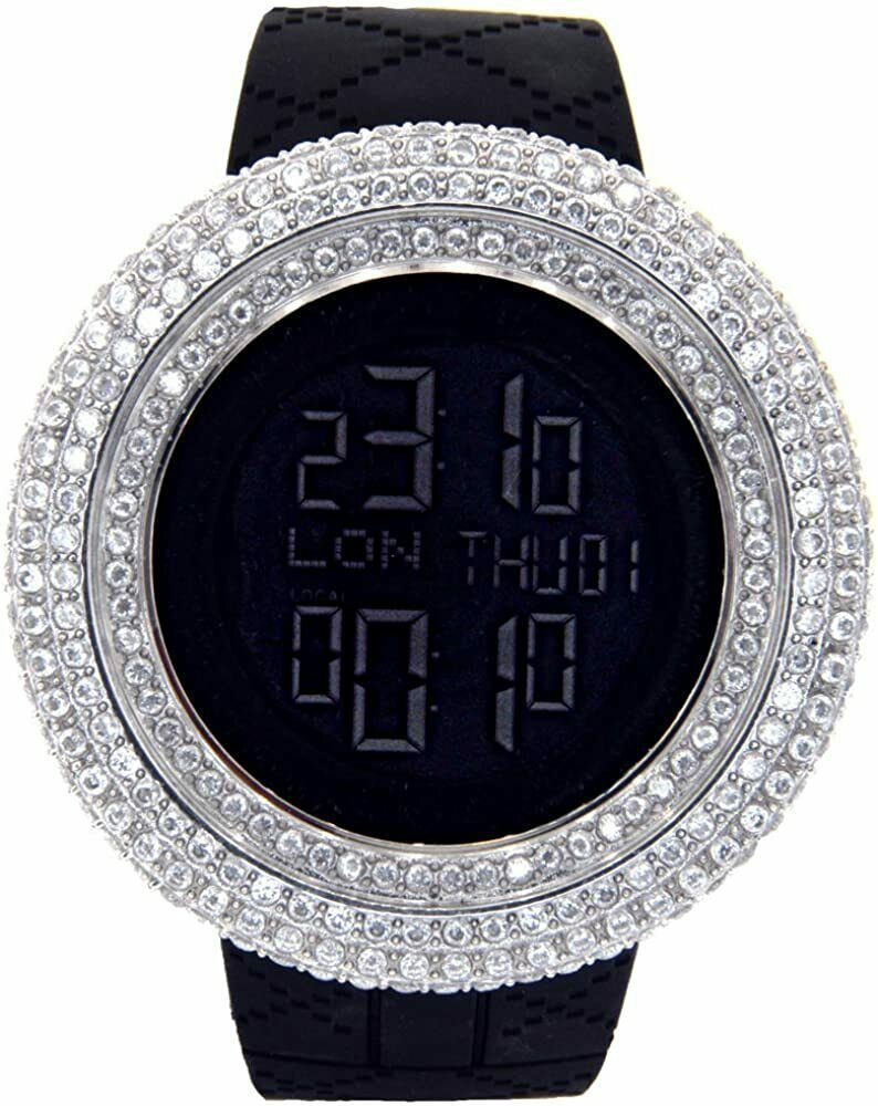 Primary image for New Men's King Master Cz Full Case Custom Bezel Case Two Time Zone Watch