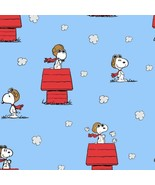 Fabric-Snoopy The Red Baron on Blue -Springs Creative #CP-69758 - $9.50