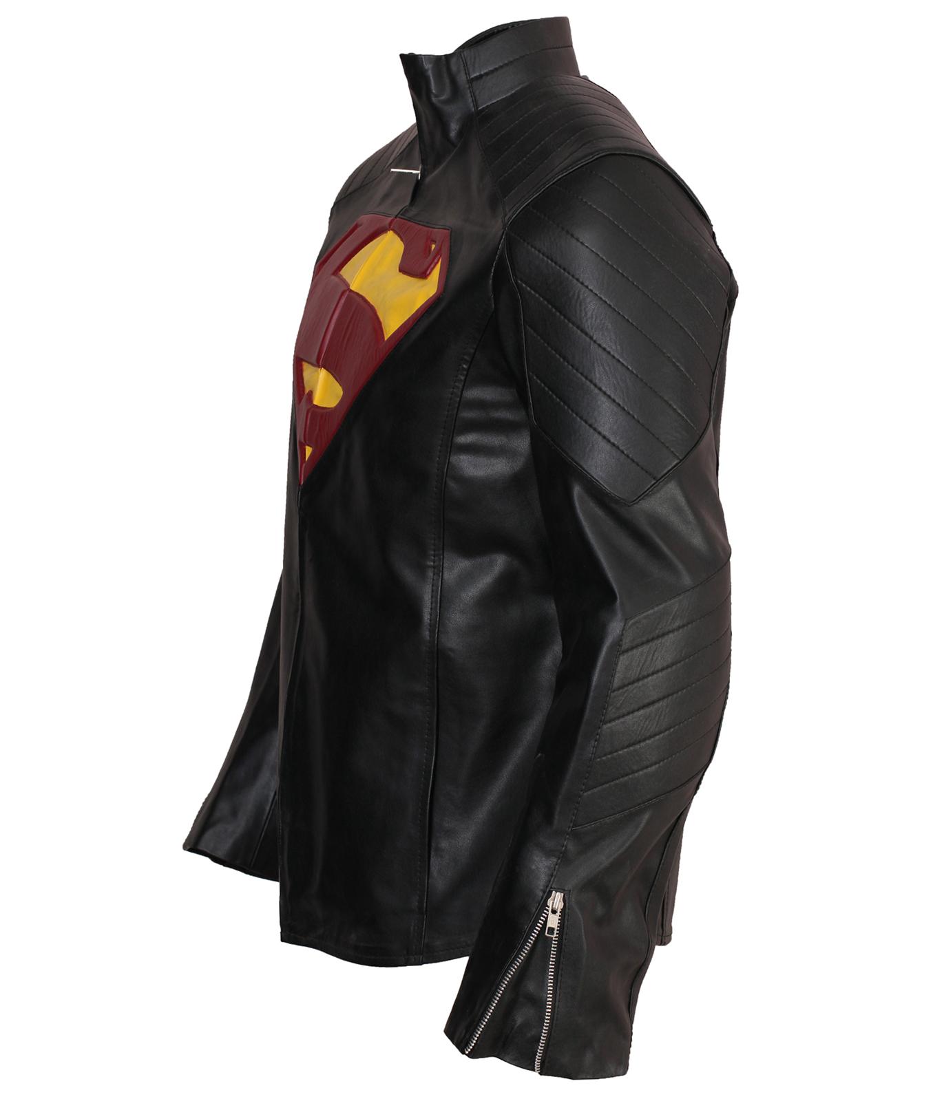 Superman Man Of Steel Smallville Black Faux Leather Jacket