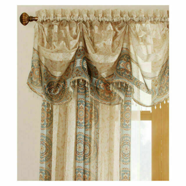 One Allen + Roth Cheshire 15-in Polyester Rod Pocket Sheer Valance - Mist - $21.74