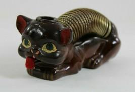 Vintage Brown Cat Letter Holder W/Pencil Holder, Ink Holder?, and Measur... - £20.55 GBP