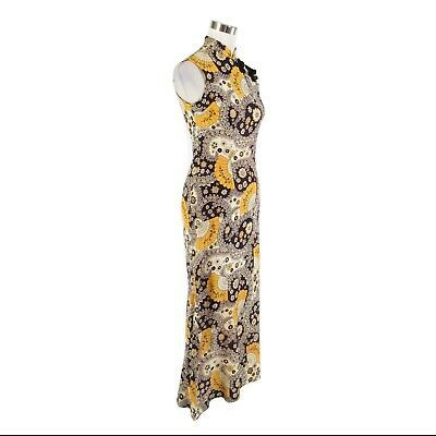 Midnight blue yellow paisley sleeveless vintage maxi dress S image 3