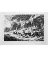 1792 ORIGINAL ETCHING Print by Howitt - Deer Family Rest under Trees in ... - $17.93