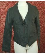 CABI black wax linen jacket M (T43-03J8G) - $29.68