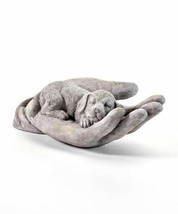 Sleeping Dog Statue in the Palm of a Hand  Polystone  - $39.59